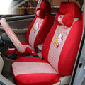 OULILAI Hello Kitty Universal Auto Car Seat Cover Set 19pcs ice silk - Red
