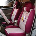 OULILAI Hello Kitty Universal Auto Car Seat Cover Set 19pcs ice silk - Rose