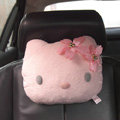 Hello Kitty Auto Neck Pillows Car Headrest Plush Cotton Flower - Pink
