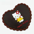 Hello Kitty Automobile Non-Slip Mat PVC Cartoon Car Anti-Slip Mat Heart - Brown