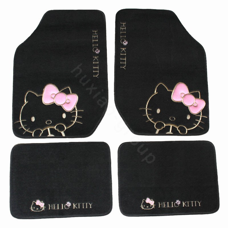 buy wholesale hello kitty universal automobile carpet car floor mat velvet bow 5pcs sets black. Black Bedroom Furniture Sets. Home Design Ideas