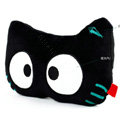 Meow Star People Luminous Doll Auto Neck Pillows Car Headrest Plush Cotton Cross-eye - Black