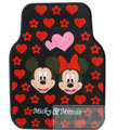 Mickey Minnie Universal Automobile Carpet Car Floor Mat Rubber Heart 5pcs Sets - Red