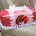 Mocmoc Auto Car Tissue Box Plush Cotton Bowknot - Pink