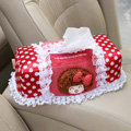 Mocmoc Auto Car Tissue Box Plush Cotton Bowknot - Red
