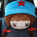 Mocmoc Auto Neck Pillows Car Headrest Plush Cotton Hat - Blue