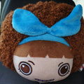Mocmoc Auto Neck Pillows Cars Headrest Plush Cotton Bowknot - Blue