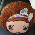 Mocmoc Auto Neck Pillows Cars Headrest Plush Cotton Bowknot - Flower