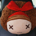 Mocmoc Auto Neck Pillows Cars Headrest Plush Cotton Bowknot - Red