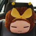 Mocmoc Auto Neck Pillows Cars Headrest Plush Cotton Bowknot - Yellow