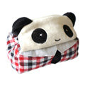 Panda Auto Car Tissue Box Plush Cotton Open Eyes - Red