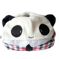 Panda Auto Car Tissue Box Plush Cotton Squinting - Red
