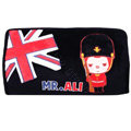 Peach & Ali Auto Car Tissue Box Plush Cotton British Flag - Black