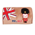 Peach & Ali Auto Car Tissue Box Plush Cotton British Flag - Brown