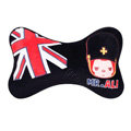 Peach & Ali Auto Neck Pillows Car Headrest Plush Cotton British Flag - Black