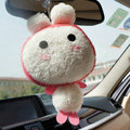 Rabbit Auto Car Sucker Pendant Plush Cotton Onigiri - Pink