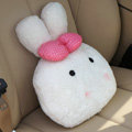 Rabbit Auto Hold Pillow Car Cushions Plush Cotton Bowknot - Pink