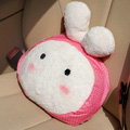 Rabbit Auto Hold Pillow Car Cushions Plush Cotton Onigiri - Pink