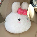 Rabbit Auto Neck Pillows Car Headrest Plush Cotton Bowknot - Pink