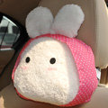 Rabbit Auto Neck Pillows Car Headrest Plush Cotton Onigiri - Pink