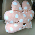 Rabbit Auto Neck Pillows Car Headrest Plush Cotton Point - Beige