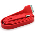 Colored Flat USB Data Cable for iPhone 3G/3GS/4G/4S iPad 2/The New iPad 100CM - Red