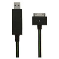 c-han USB Data Cable with LED Green Light 120CM for iPhone 4G/4S - Black Cable