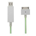 c-han USB Data Cable with LED Green Light 80CM for iPhone 4G/4S - White Cable