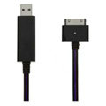c-han USB Data Cable with LED Purple Light 120CM for iPhone 4G/4S - Black Cable