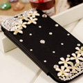 Flower Bling Battery Case Leather Cover for Samsung GALAXY S4 I9500 SIV - Black
