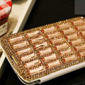 Glass Bling Battery Case Leather Cover for Samsung GALAXY S4 I9500 SIV - Champagne