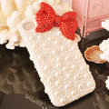 Bling Bowknot Crystal Cases Rhinestone Pearls Covers for iPhone 5C - Red