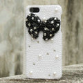 Bling Bowknot Rhinestone Crystal Cases Pearls Covers for iPhone 5C - Black