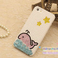 Bling Dolphin Crystal Cases Rhinestone Pearls Covers for iPhone 5C - White