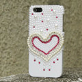 Bling Heart Crystal Cases Rhinestone Pearls Covers for iPhone 5C - White