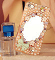 Bling Mirror Bowknot Crystal Cases Pearls Covers for iPhone 5C - Pink