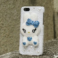 Bling Rabbit Crystal Cases Rhinestone Pearls Covers for iPhone 5C - Blue