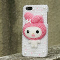 Bling Rabbit Crystal Cases Rhinestone Pearls Covers for iPhone 5C - Rose