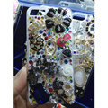 Bling Swarovski crystal cases Ballet girl Skull diamond cover for iPhone 5C - Black