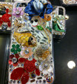 Bling Swarovski crystal cases Fish Flower diamond cover for iPhone 5C - Blue