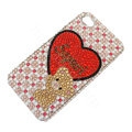 Bling Swarovski crystal cases Love Bear diamond covers for iPhone 5C - Red