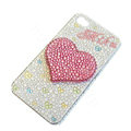 Bling Swarovski crystal cases Love Heart diamond covers for iPhone 5C - White