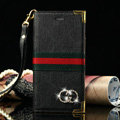 Classic Gucci High Quality Leather Flip Cases Holster Covers For iPhone 5C - Black