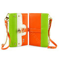 IMAK Tit color holster Wallet leather case cover for iPhone 5C - Green Orange