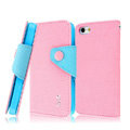 IMAK cross leather case Button holster holder cover for iPhone 5C - Pink