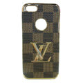 LV LOUIS VUITTON Luxury leather Cases Hard Back Covers for iPhone 5C - Brown