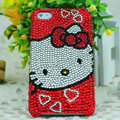 Luxury Bling Hard Covers Hello kitty diamond Crystal Cases for iPhone 5C - Red