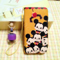 Mickey Mouse leather Case Side Flip Holster Cover Skin for iPhone 5C - Brown