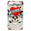 Swarovski Bling crystal Cases Skull Love Luxury diamond covers for iPhone 5C - White