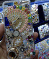 Swarovski crystal cases Bling Peacock diamond cover for iPhone 5C - White